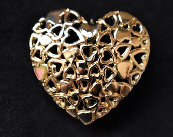 """Vintage Heart Brooch Coat Sweater Pin Gold Tone 80s Retro Costume Jewelry Valentine's Gift 1.25"""""""