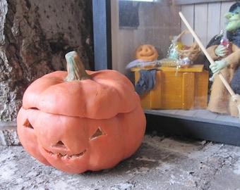 PUMPKIN candle or led for HALLOWEEN! Holiday season for fall, Jack O lantern. Tray, box treasure. Porcelain cold saeljana.