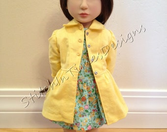 Classic Pencil dress with separate overskirt and tailored bright yellow coat for dolls such as A Girl for All Time