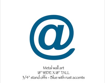 "Email 'at' sign wall art 18"" tall - metal steel - choose your color with rust patina - steel wall art - at sign metal wall art"