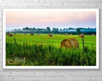 Farmland photography, Manitoulin island, framed art print, matted photograph, rural farm picture, 12x12 print, 16x16 print, 14x20 framed art