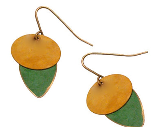 Brass Patina Earrings in Mustard and Green