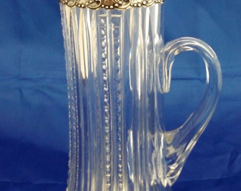 1898 Gorham sterling & Dorflinger ABC glass champagne pitcher