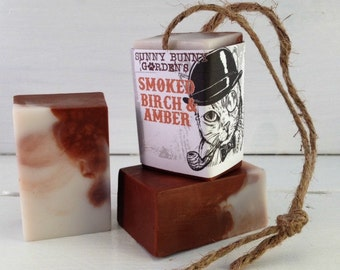 Smoked Birch Soap-On-A-Rope, Manly Soap, Soap Men Love, Handmade Smoked Birch & Amber Soap, Gifts For Dad, Gifts For Hubby, Vegan Mens Soap