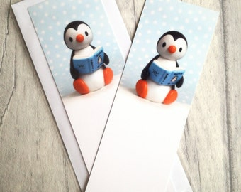 Penguin bookmark, page marker, bookmark gift