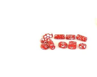 Beads, Red and White, variety, C, destash