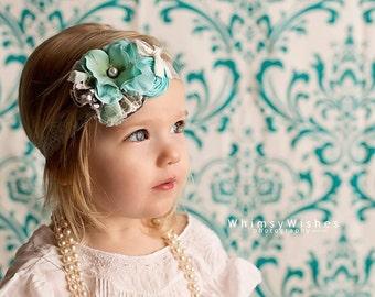 Aqua  Grey Ivory Headband, Spring Double Rosettes Headband ,Aqua Flower  Headband