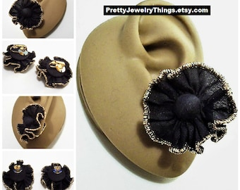 Avon Black Flower Pierced Stud or Clip On Earrings Silver Tone Vintage 1988 Ruffled Fabric Gold Thread Edge Accent Round Center Button