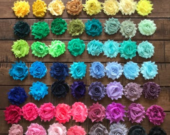 """74 pack of 2.5"""" Shabby Chic Flower Hair Clip on Alligator Clip, Bright, Neon, and Pastel Colors, little girls, Special Holida"""
