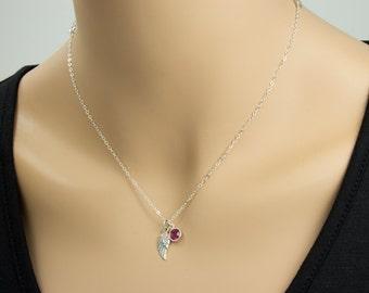 Aile d'ange et collier Pierre de naissance, argent Sterling, collier aile, ailes d'ange, pendentif de la foi, foi bijoux