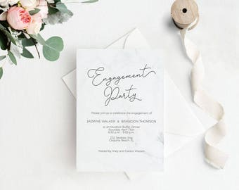 Modern Marble Engagement Party Invitation, Engagement Invitation,Engagement Dinner,Wedding Invitation Template, Instant Download #E038