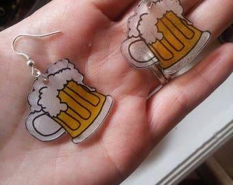 Earrings mug of beer