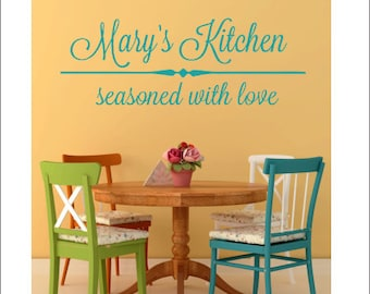 Personalized Kitchen Decal Vinyl Decal Vinyl Wall Decal Personalized Name Kitchen Decal Seasoned with Love Decal Vinyl Wall Decal Dining