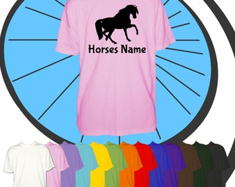 Childrens Custom Printed Horse T Shirt - Riders or Horses Name - Horse Personalised - Personalized Kids Childs Boys Girls Equestrian Present