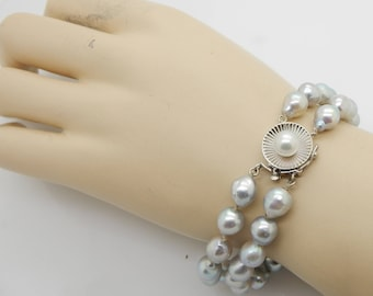 """Solid 14K White Gold Clasp 6.5mm Grey Freshwater Pearl Double Strand Bracelet-7.5""""; sku # 4273"""