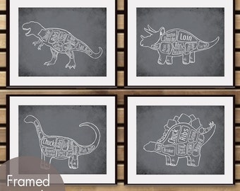 Dinosaur Butcher Diagram Series - Set of 4 Art Prints (Featured in Charcoal) Prehistoric Animal Art Prints
