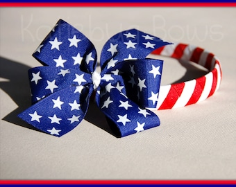 4th of July Memorial Day --  Stars and Stripes 5 inch Pinwheel Bow and Woven Headband 3-in-1 Combo - Etsykids Team