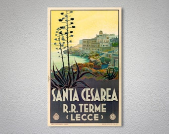 Santa Cesarea, Terme, Italy  Vintage Travel Poster, Canvas Giclee Print / Gift Idea