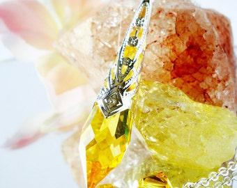 Crystal Pendulum, Swarovski Crystal Light Topaz Metaphysical Magic Wand, Dowsing Pendulum, Divining Pendulum
