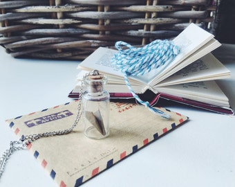 Origami plane necklace - Paper plane in glass bottle - Make a wish necklace - Travel necklace - Tiny plane pendant