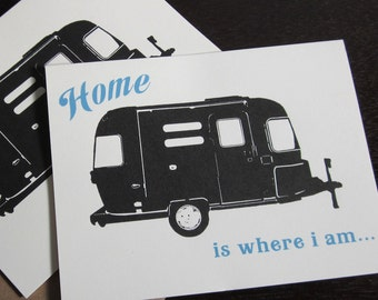 Home is Where I Am - 6-Pack Letterpress Airstream Trailer Stationery