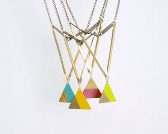 Geometric Necklace : Summer Fashion - Painted Brass Triangle Necklace - CHOOSE ONE COLOR