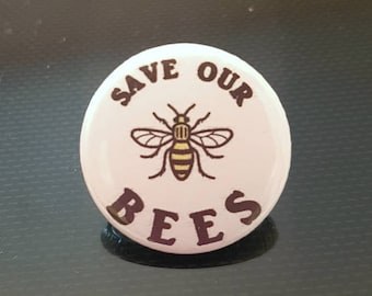 Save The Bees, Save Bees Badges, Save Bees Buttons, Manchester Bee, Bee keeper gifts, UK badges, Amaretto Badges