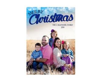 Merry Christmas Bokeh Overlay Photo Card