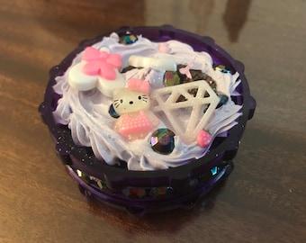 Purple Sweet Deco Whip Herb Jeweled Herb Grinder
