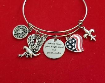 Silver Eagle Scout Leader Charm Bracelet