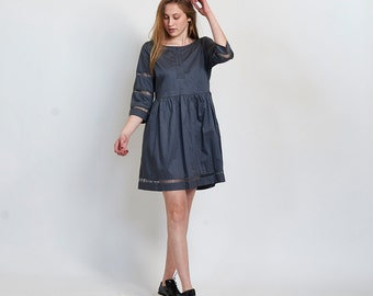 Embroidered Trim Mini Dress, Grey