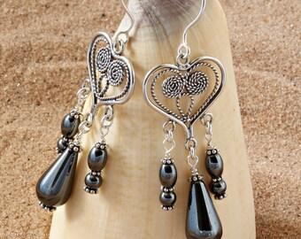 Hematite. Chandelier Earrings. Gemstone Jewelry. Teardrop Earrings. Boho Jewellery. Black Earrings. Gift for Women. Handmade. Haematite