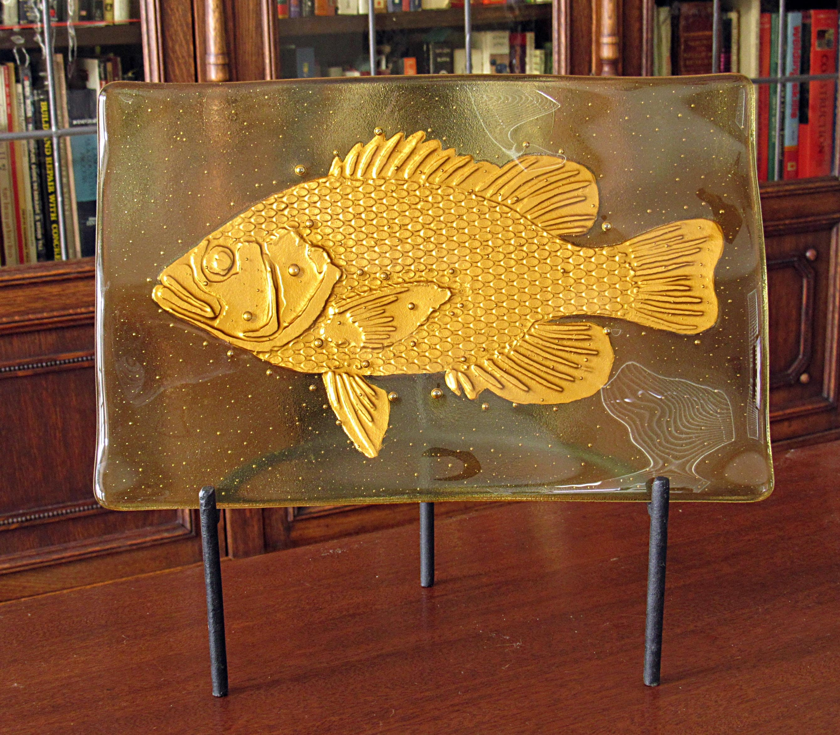 Fused Glass Art with Golden Fish Fused Glass Fish