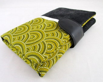 Wallet all in one faux effect black faux suede and fabric mustard yellow spiral