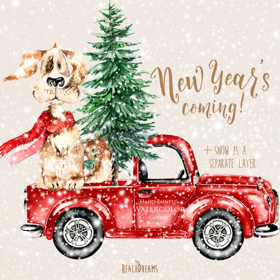 watercolor christmas truck dog vintage red pickup pine