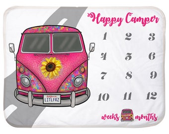 Baby Milestone Blanket VW Bus Personalized Baby Blanket Track Growth and Age New Mom Baby Shower Gift VW Baby Gifts Pink Hippie Camper Van