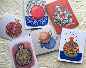 Pomegranate Blank Greeting Card Assortment - Pomegranate Design Greeting Cards - Pomegranate Greeting Card Set