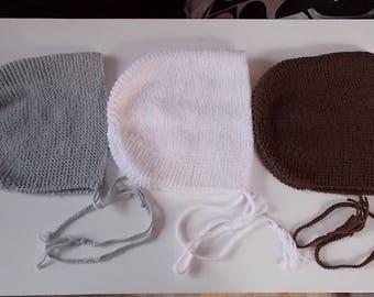 wool handmade knit baby bonnet Hat