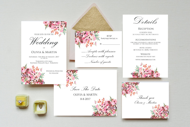 Wedding Invitation printable wedding invitation set floral