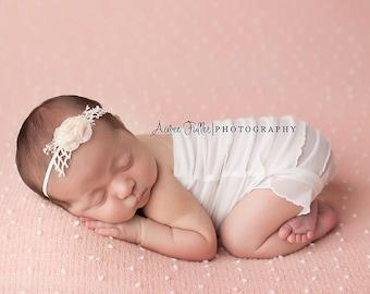 Newborn Organic Headband, Newborn Headband Prop, Newborn Flower Headband, Cream Beige Natural Pink, Photo Prop Headband floral headband baby