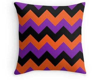 Orange Black Purple Chevron Pillow, Orange Black Chevron Pillow, Orange Black Pillow, Halloween Pillow, Halloween Decor, Black Orange Pillow