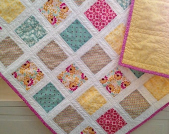 Modern Baby/Toddler Quilt/Girl