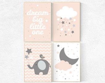Nursery decor girl coral, nursery decor elephant, Dream Big little one, coral nursery decor, peach nursery, blush nursery, cloud and stars
