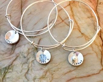 Adjustable Bangle Custom Bracelet, Hand Stamped Adjustable Bangle, Stackable Bangle, Personalized Adjustable Bracelet Bangle, charm bangle