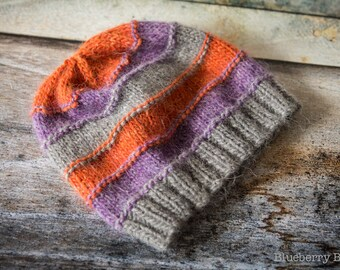 Childs Knitted Striped Beanie Hat, Beige, Grey, Purple, Orange Hand Knit - UK Seller, Ready to Ship