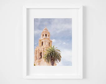 San Diego architecture photography - California Building wall decor - Balboa Park photo prints - Pastel muted fine art print - Museum of Man