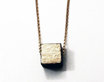 Gold cube necklace, wood cube necklace, cube necklace, gold leaf necklace, black + gold necklace, minimalist wood necklace, valentines gift
