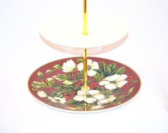 Christmas, Holidays Tidbit Tray Tiered Stand, Wedgwood Splendor Holly Ivy Cupcake Stand Jewelry Stand, Tidbit Tray Vintage China Stand