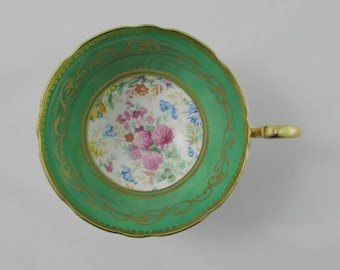 Aynsley Orphan Tea Cup, Green with Floral Chintz Center, Replacement Tea Cup, Teacup ONLY, No Saucer