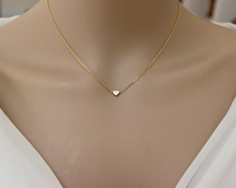 3 Heart Necklace 14K Gold Heart Necklace Three Initial